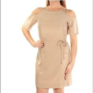 Cold shoulder nude dress sz L